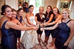 Bridal party toasting